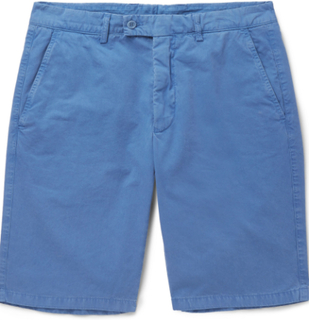Slim-fit Washed Cotton-twill Shorts - Blue