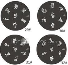 1 kpl M-sarjan pyöristetty kukkakuosi Nail Art Stamp Leimaaminen Kuva Template Plate No.29-32 (Assorted Pattern)