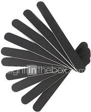 10 Professional Nail File Slim Buffing Hiekkapaperilla Musta