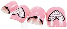 24PCS sydän suunnittelu Pink Nail Art Vinkkejä liimalla