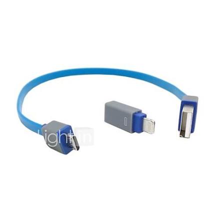 30cm Flat Slim USB 2.0 Micro USB 5pin & 8Pin adapteri kaapeli iPhone 5s iPad Air Galaxy S4 i9500 S3 i9300 ja Tablet