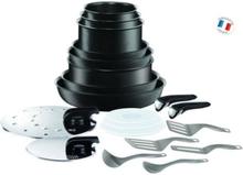 TEFAL INGENIO PERFORMANCE 20-osainen keittiöastiasarja L6549802 16-18-20-22-24-26-28cm - Kaikki lämmönlähteet induktiota mukaan lukien - musta