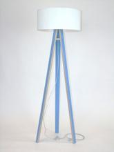 WANDA Stehlampe 45x140cm - Blau / Weiß Lampenschirm - weiß