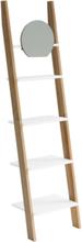 ASHME Leiterregal mit Spiegel 45x35x180cm - Weiß - Weiß