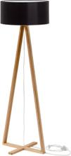 TALES Eschenholz Stehlampe - Schwarz Lampenschirm - Schwarz \ Transparent