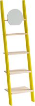 ASHME Leiterregal mit Spiegel 45x35x180cm - Holz Regale/Gelb - Gelb