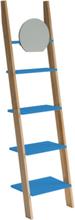 ASHME Leiterregal mit Spiegel 45x35x180cm - Blau - Blau