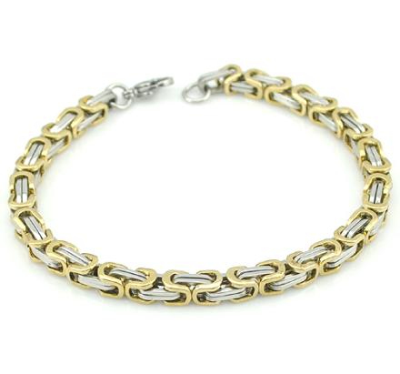 Kejsarlänk -Armband i rostfritt stål -Silver/Guld 5mm resp 8mm