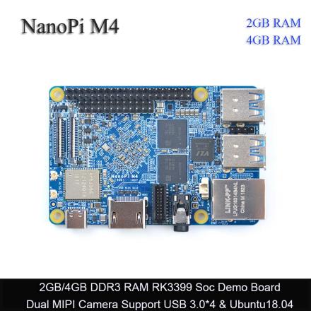 FriendlyARM NanoPi M4 2GB/4GB DDR3 Rockchip RK3399 SoC 2.4G & 5G dual-band WiFi,Support Android 8.1 Ubuntu, AI and deep learning