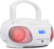 Roadie DAB CD-Spelare DAB/DAB+ FM LED Disco Light Effect USB Bluetooth Vit