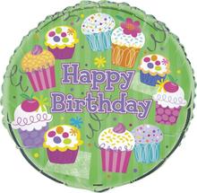 Folieballong - Happy birthday cupcakes