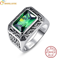 Bonlavie Fine 6.8Ct Nano Russian Emerald Men Ring Solid 925 Sterling Sliver Jewelry Engagement Wedding Ring For Men Size 6-14