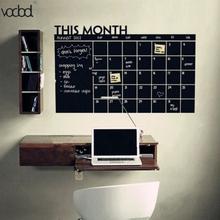 Hot 92X60cm Month Calendar Chalkboard Blackboard Removable Planner Wall Stickers Black Board Office School Vinyl Decals Supplies