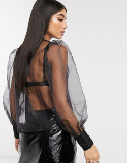 NA-KD puff sleeve organza blouse in black