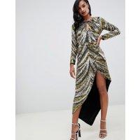 ASOS EDITION - Asymmetrisk klänning med paljetter och fransar - Flerfärgad