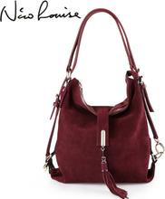 Nico Louise Women Real Suede Leather Shoulder Bag Female Leisure Nubuck Convertible Handbag Hobo Messenger Top-handle bags Purse