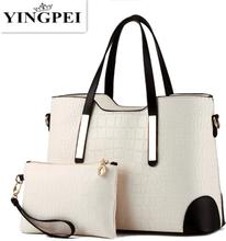 YINGPEI Women Bag Shoulder Handbag Women Vintage Messenger Bags Top-Handle Crocodile Pattern Composite Bag Purse Wallet Leather