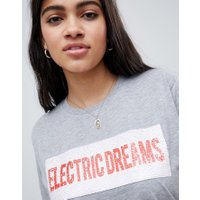 ASOS DESIGN t-shirt med electric dreams tryck i paljetter - Gråmelerad