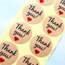"100pcs/lot Vintage""Thank you"" Heart Round Kraft paper Seal sticker For handmade products baking products sealing sticker Label"