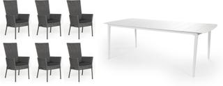 Somerset & Grandby matgrupp Grå/grå med grå dyna 6 positionsstolar & bord 212x100cm