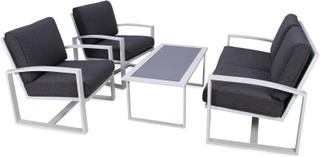 Oakmont soffgrupp Vit med grå dyna 2,5-sitssoffa, 2 fåtöljer & bord