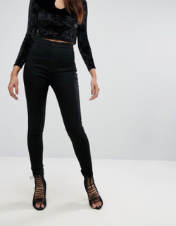 Missguided vice high waisted super stretch skinny jean in black
