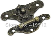 Free Shipping-10 Sets Box Lock, Case Lock, Wooden Box Lock Antique Bronze Pattern Carved 2.3cm x 2.8cm J1299