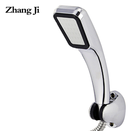 ZHANGJI Water Saving High Pressure Shower Head Hand Hold Square Bathroom Accessory Chrome ABS Shower Heads ZJ277