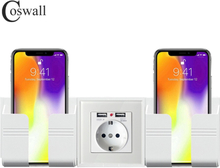 Coswall Wall Socket Phone Holder Smartphone Accessories Stand Support For Mobile Phone Apple Samsung Huawei Two Phone Holder