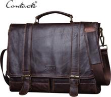 CONTACT'S 2020 Men Retro Briefcase Business Shoulder Bag Leather Handbag Bag Computer Laptop Messenger Bags Men's Travel Bags