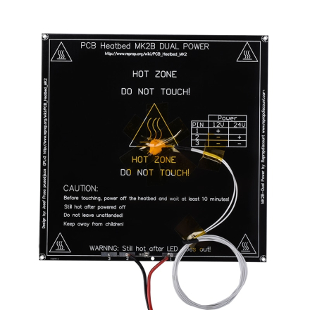 Reprap MK2B Heatbed 214*214*1.6MM MK2B Heated Bed PCB Led Thermistor For 3D Printer Like MK2A Hotbed For 3D Printer Parts Mendel