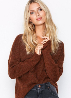 Selected Femme Slflivana Ls Knit V-Neck Noos Mørk brun