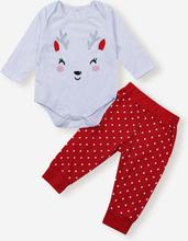 Baby Weihnachtsdruck Langarm Tops + Hosen Kleidung Set Für 0-18M