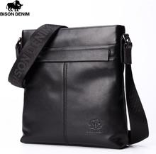 "BISON DENIM Brand Men Shoulder Bag Genuine Leather 10.5"" Ipad Black Cowhide Crossbody Bag for Men Casual Messenger Bags N2357-1"