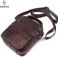 ZZNICK 2019 Genuine Cowhide Leather Shoulder Bag Small Messenger Bags Men Travel Crossbody Bag Handbags New Fashion Men Bag Flap