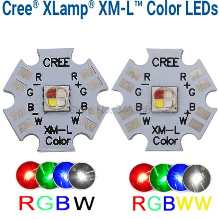 10w Cree XLamp XM-L XML RGBW RGB White or RGB Warm White Color High Power LED Emitter 4-Chip 20mm Star PCB Board