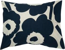 Unikko tyynyliina puuvilla-pellava 50x60 cm Luonnonvalkoinen-tummansininen