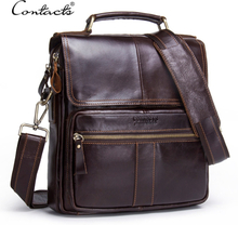 "CONTACT'S Brand Design Genuine Leather Shoulder Bag Men Crossbody Messenger Bags Vintage Men's Handbag Bolsos Male For 9.7"" Ipad"