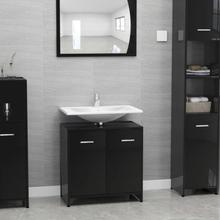 Badeværelsesskab 60x33x58 cm spånplade sort højglans