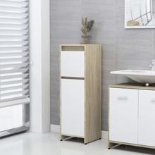 Badeværelsesskab 30x30x95 cm spånplade hvid og sonoma-eg