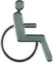 Toilet skilt 3D - Handicap figur - grå - 4 x 10 cm