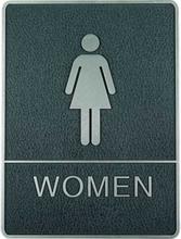 Indrammet krom skilt med blindeskrift - Dame toilet - Grå/sølv