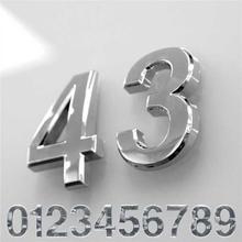 Krom belagt tal sæt 0-9 - sølv - 7 cm høj