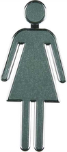 Toilet skilt 3D - Kvinde/dame figur - grå - 4 x 10 cm