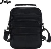 Genuine Leather Men Messenger Bags Single Shoulder Bag Crossbody Pack Black Handbag Multi-functional Portable Bags Male Bolsa