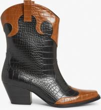 Faux croc cowboy boots - Black