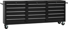 vidaXL værktøjsvogn med 15 skuffer stål sort