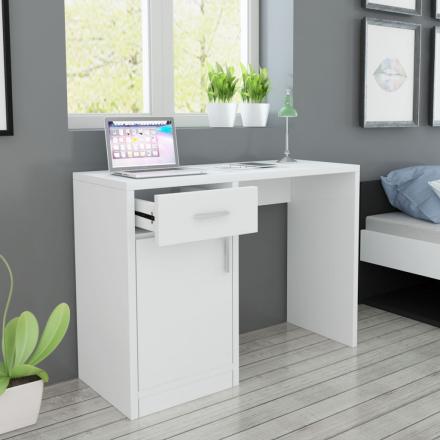 vidaXL Työpöytä Lipastolla ja Kaapilla Valkoinen 100x40x73 cm