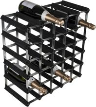 RTA Vinställ 30 flaskor (5x5) svart trä