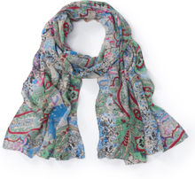 Sjaal bloemen- en ornamentenprint Van Peter Hahn blauw